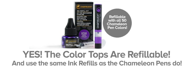YES! The Colour Tops are Refillable with all 50 Chameleon Pens Colours and use the same Ink Refills as the Chameleon Pens!